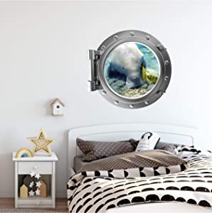 """Wall Sticker,Port Scape Dugong #1 Porthole Wall Decal Marine Aquatic Manatee Sticker Graphic Exotic Ocean Window View Kids Game Room Decor 15.7""""x23.6"""""""