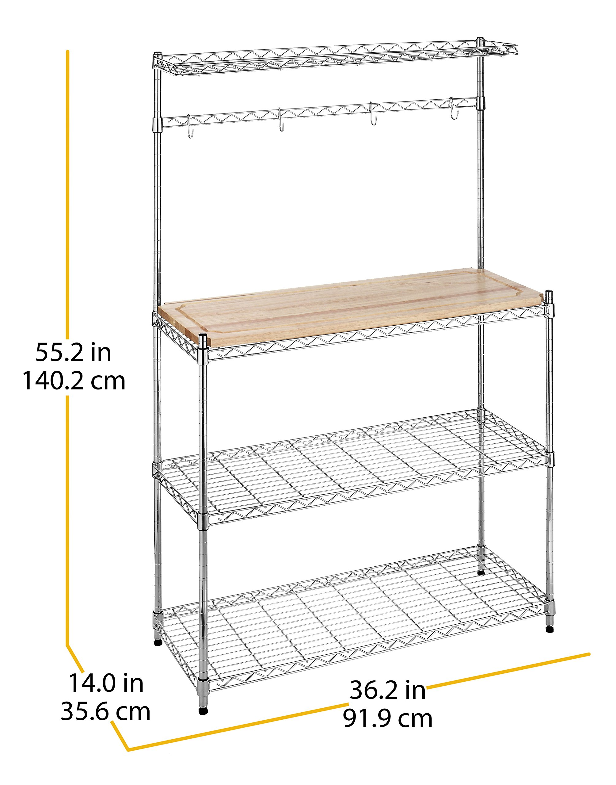 Whitmor Supreme Baker's Rack with Food Safe Removable Wood Cutting Board - Chrome by Whitmor (Image #9)