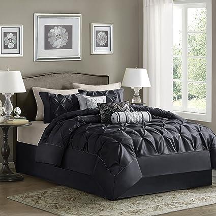 Madison Park Laurel King Size Bed Comforter Set Bed in A Bag - Black,  Wrinkle Tufted Pleated – 7 Pieces Bedding Sets – Faux Silk Bedroom ...