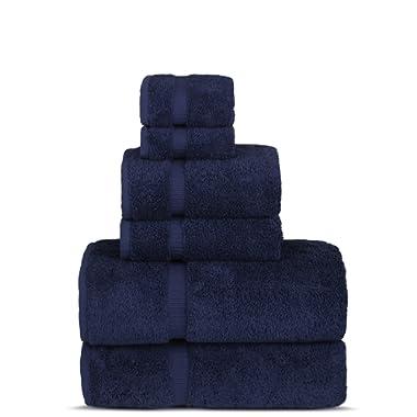 Luxury Spa and Hotel Quality Premium Turkish 6-Piece Towel Set (Navy, 2 x Bath Towels, 2 x Hand Towels, 2 x Washcloths)