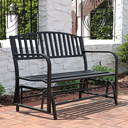 Exceptional Sunnydaze Outdoor Garden Bench 50 Inch, Metal Glider Patio Seat, Black