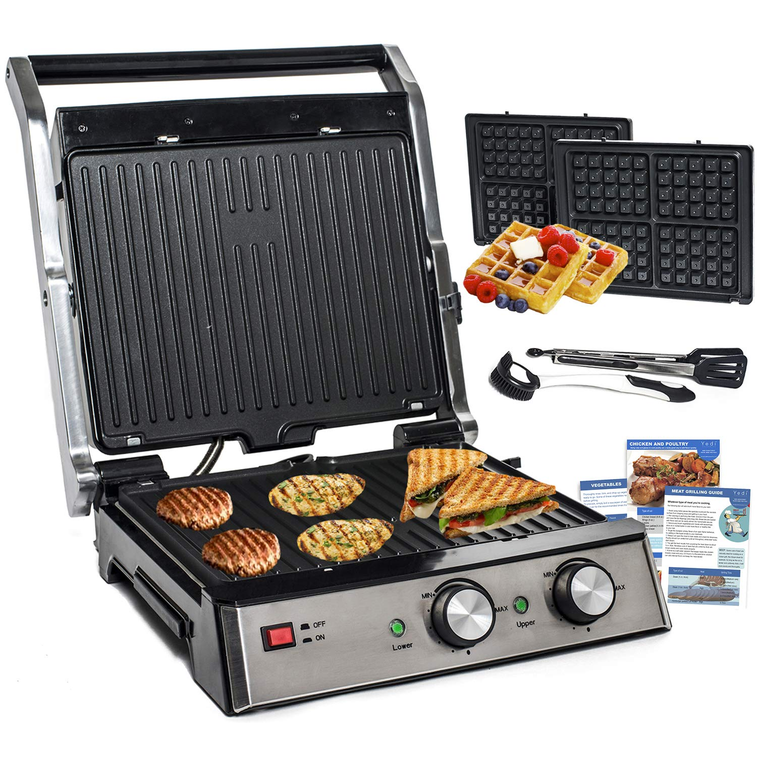 Total Package 6-in-1 Grill, Waffle Maker, Griddle, Panini Press with Deluxe Accessory Kit by Yedi Houseware