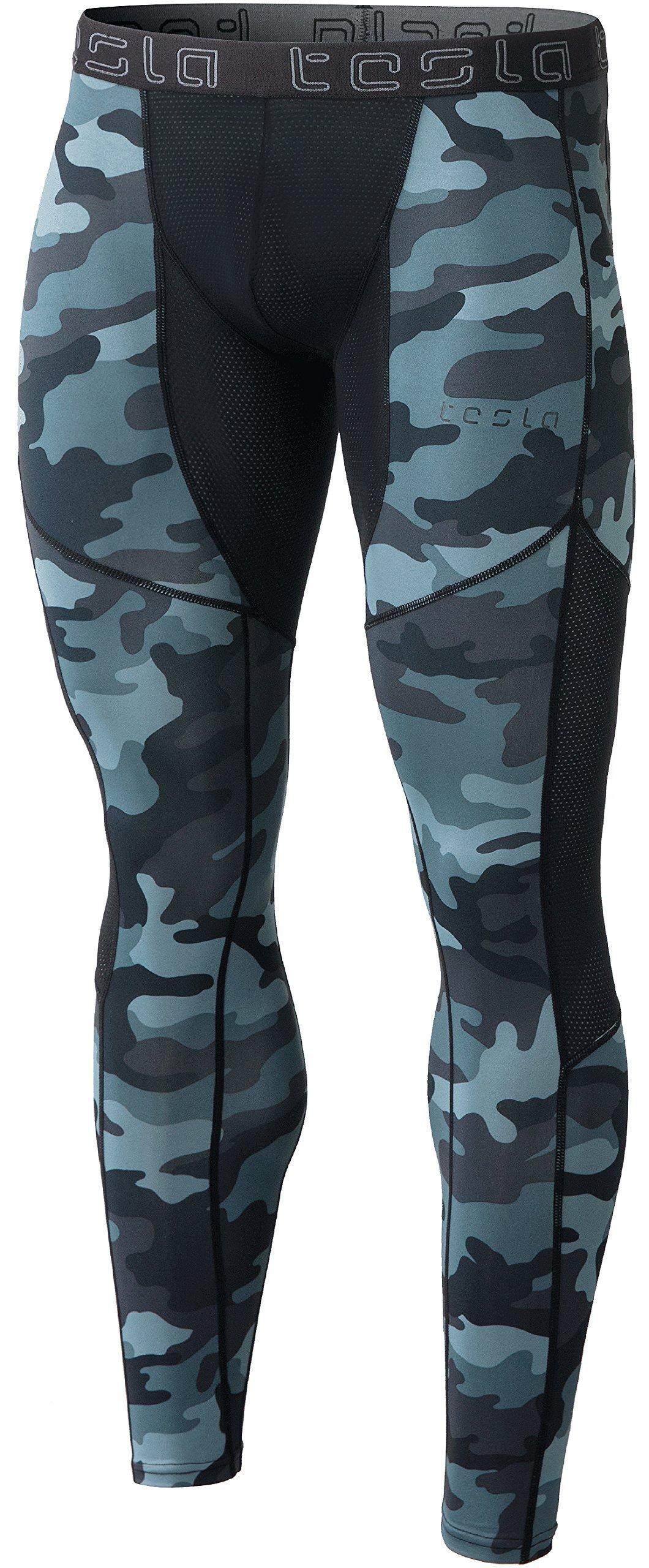 TSLA Men's Compression Pants Running Baselayer Cool Dry Sports Tights, Mesh(mup79) - Camo Dark Grey, Small by TSLA