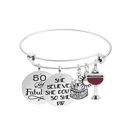 Yiyang 50th Birthday Gifts for Women Silver Bangle Bracelet Inspirational 50th Birthday Gift for Her Expandable Charms Jewelry