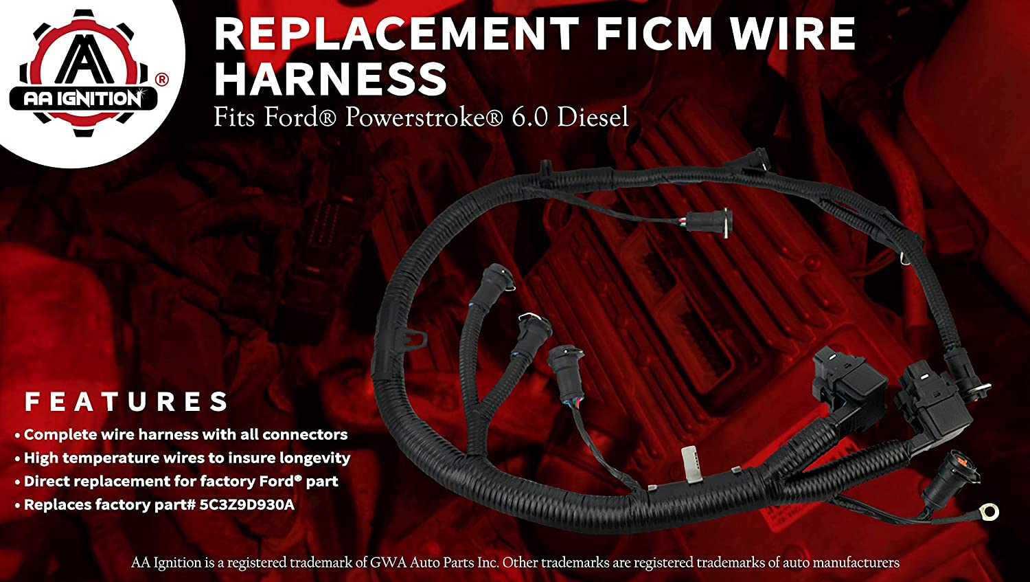 Ficm Engine Fuel Injector Complete Wire Harness 96 Ford Diesel Wiring Replaces Part 5c3z9d930a Fits Powerstroke 60l 2003 2004 2005 2006