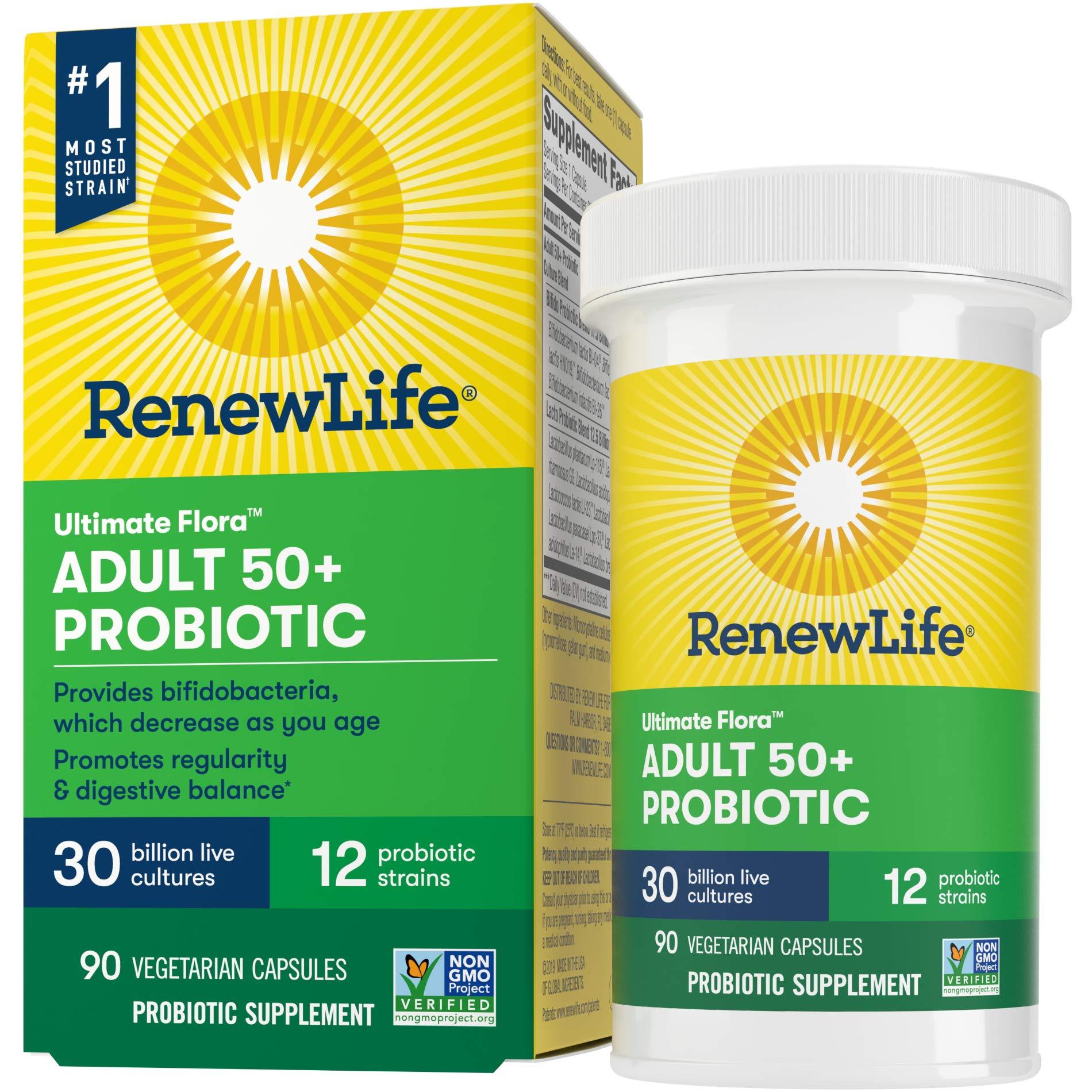 Renew Life Adult Probiotic - Ultimate Flora Adult 50+ Probiotic Supplement - Shelf Stable, Gluten, Dairy & Soy Free - 30 Billion CFU - 90 Vegetarian Capsules (packaging may vary)