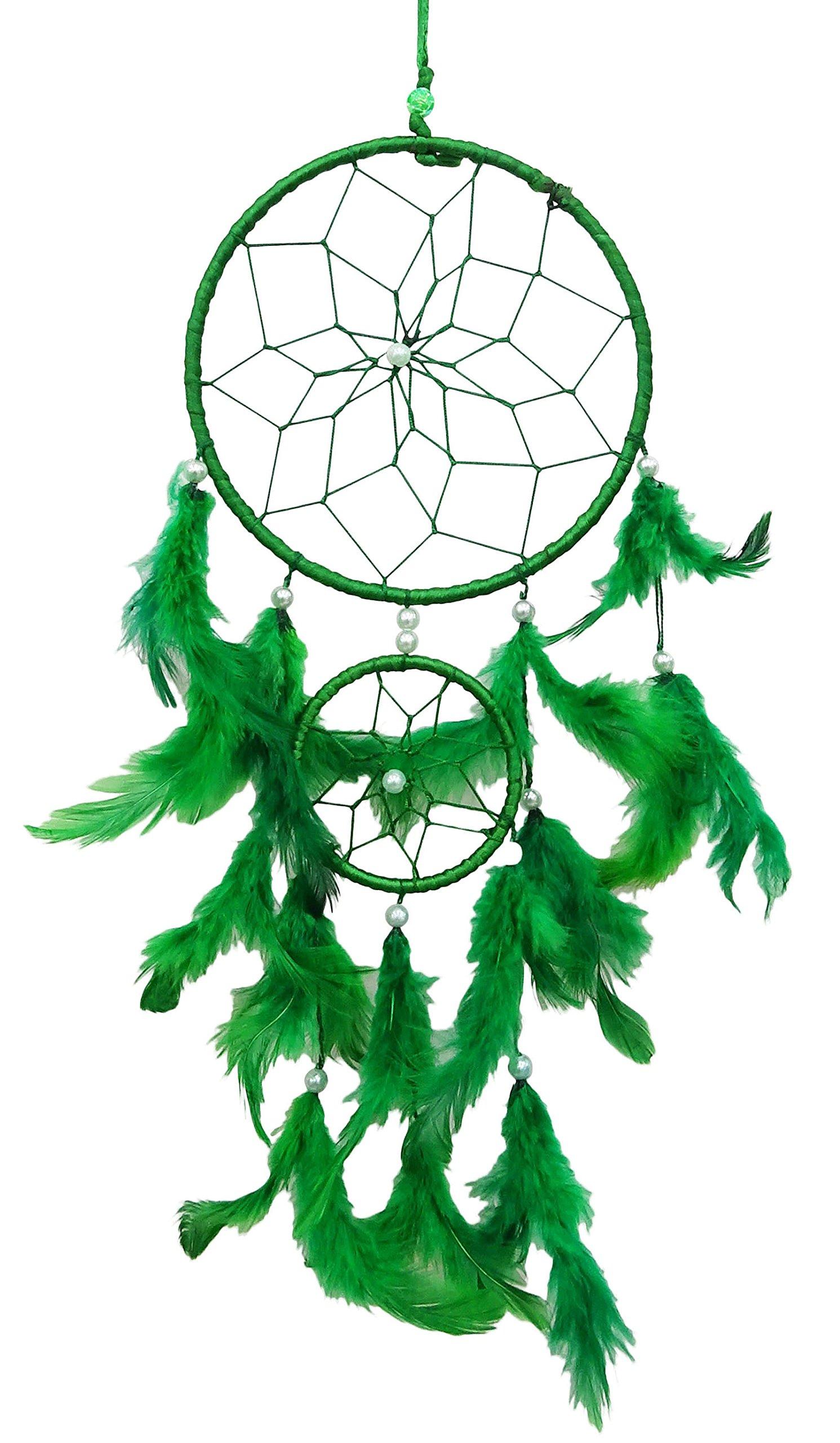 SuSvapnaah Boho Dream Catcher Green Faux Feather Handmade Web Double Ring Wall Hanging Window Decor