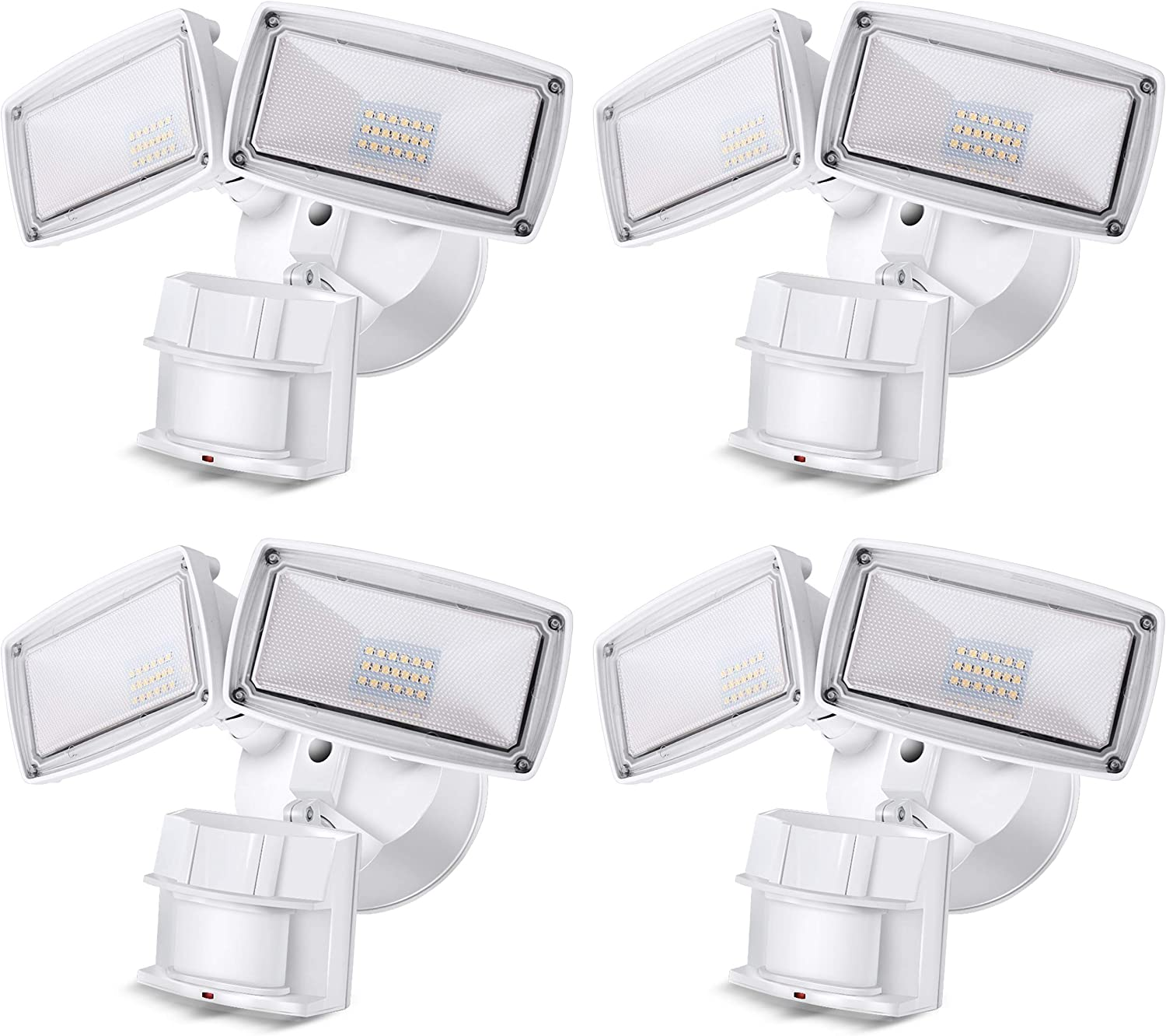 2 Pack LED Flood Lights And Motion Sensor 3000lm Waterproof Outdoor Security.