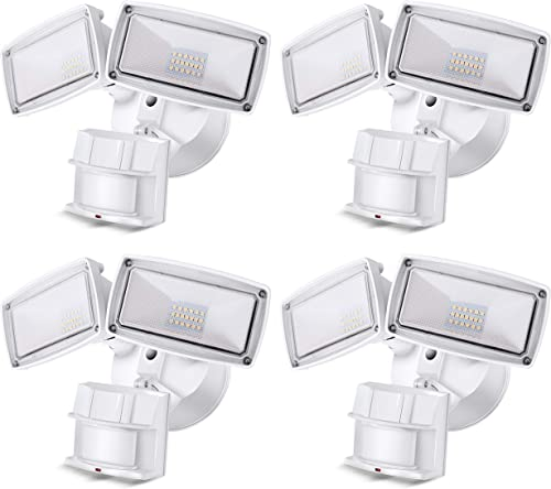 4 Pack LED Security Light 3000LM, 28W Outdoor Motion Sensor Light, 5500K, IP65 Waterproof, Adjustable Head Flood Light for Entryways, Stairs, Yard and Garage