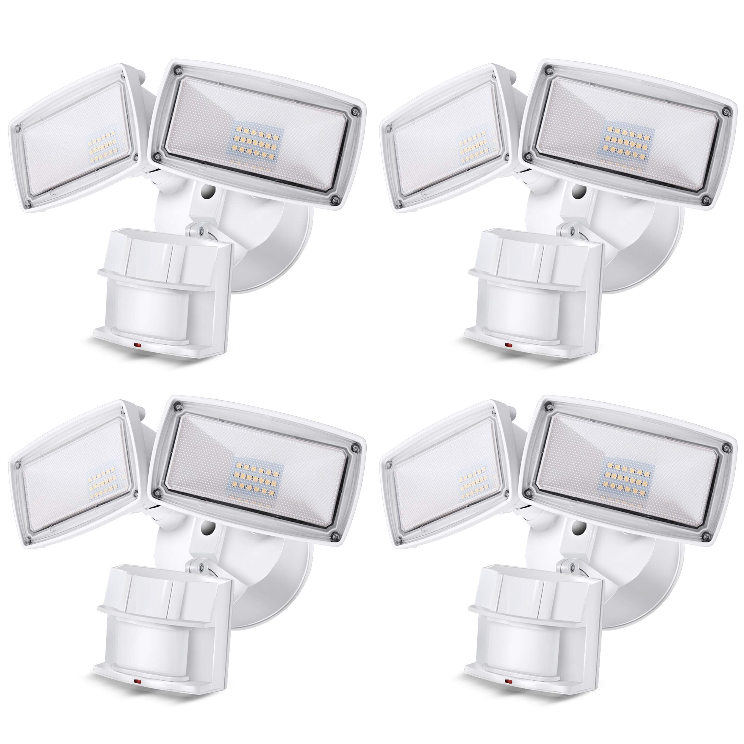 LED Security Light 3000LM, 28W Outdoor Motion Sensor Light, 5500K, IP65 Waterproof, Adjustable Head Flood Light for Entryways, Stairs, Yard and Garage 4 Pack