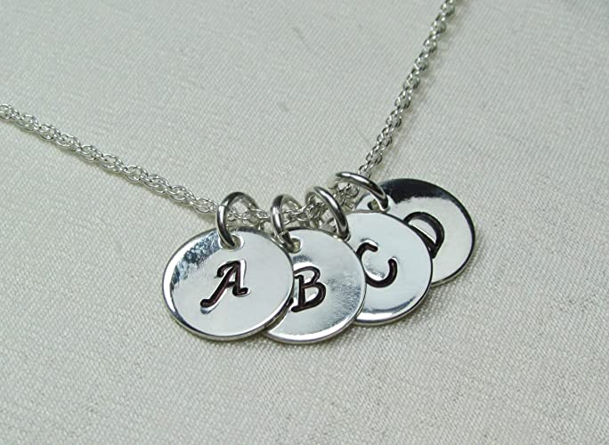 3175ca73169e4 Amazon.com: Sterling Silver Initial Necklace Four Disc Monogram ...