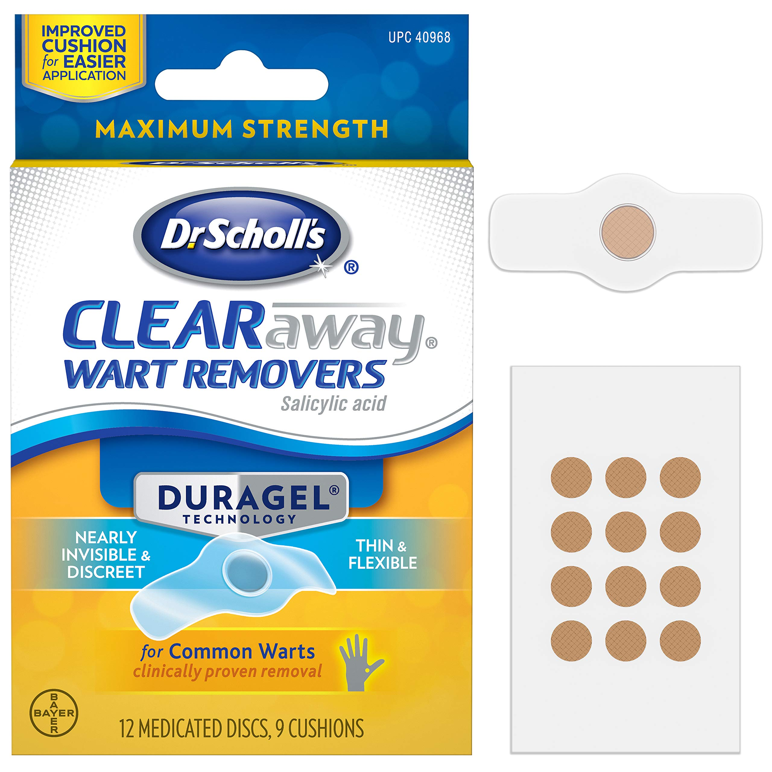 Dr. Scholl's ClearAway Wart Remover with Duragel Technology, 9ct / Clinically Proven Wart Removal of Common Warts with Discreet Thin and Flexible Cushions, Optimal for Fingers and Toes