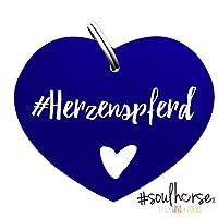 Pferde Glücksmarke #Herzenspferd Blau – Gücksbringer - Soulhorse Anhänger Halfter, Trense, Zaumzeug, Sattel, Vorderzeug, Geschenk Reiter