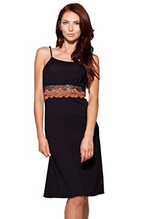787615a305a859 Elegantes Damen Negligé Nachthemd in schwarz mit edler Spitze S: Amazon.de:  Bekleidung