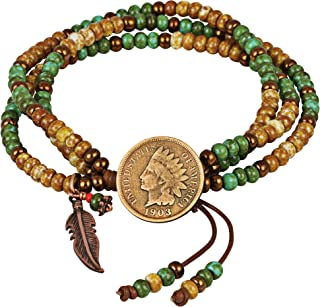 product image for Indian Head Penny Multi Strand Bracelet | Leather and Czech Glass Beads | Genuine Coin | One Size Adjustable |Women's Fashion Jewelry