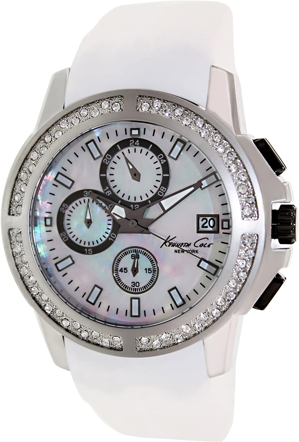 Kenneth Cole New York White Silicone Chronograph Mens Watch