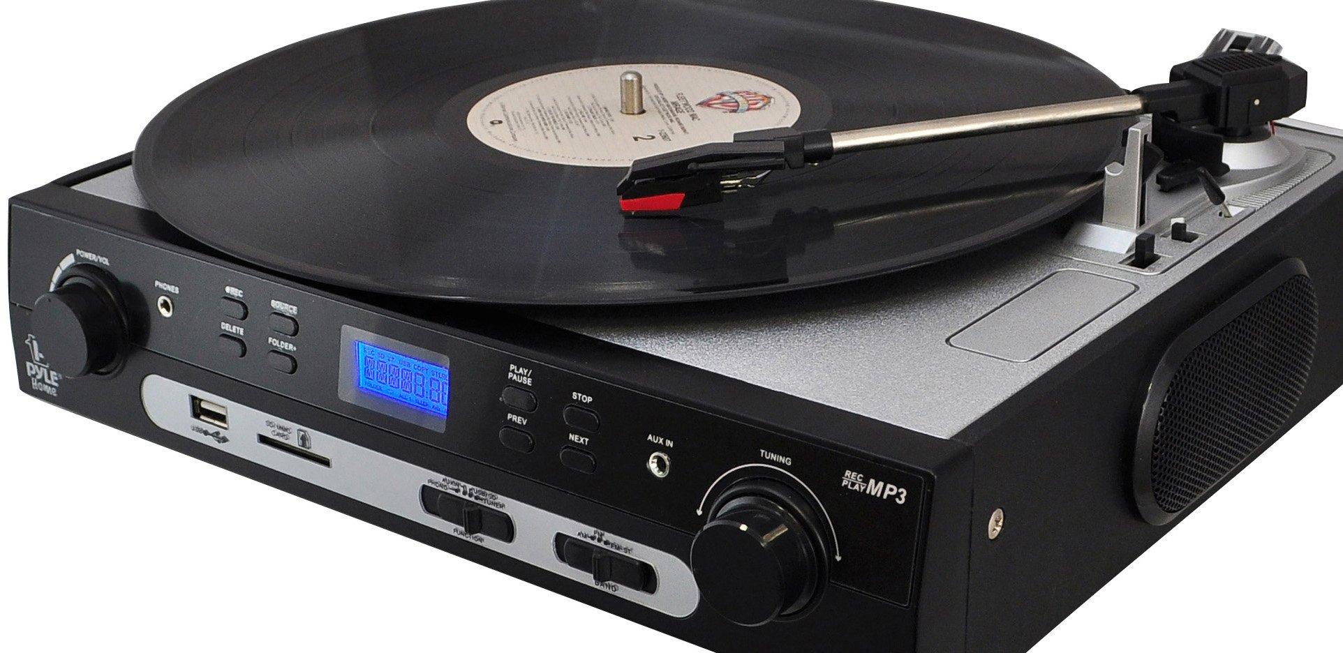 Pyle Upgraded Vintage Record Player - Classic Vinyl Player, Retro Turntable, MP3 Vinyl, Music Editing Software Included, Ceramic Cartridge, FM Tuner, MP3 Converter,  3 Speed - 33, 45, 78 - PLTTB9U