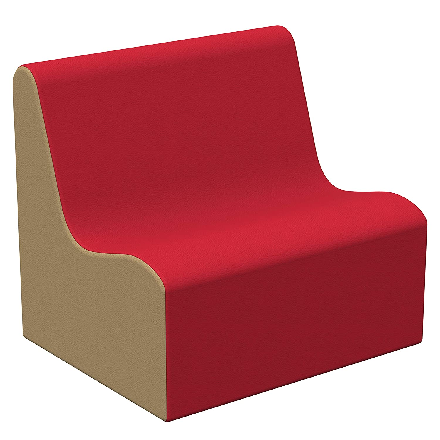 FDP SoftScape Wave Preschool Sofa Seating, Play Soft Supportive Foam Furniture for Kids for Bedrooms, Playrooms, Classrooms - Red/Sand