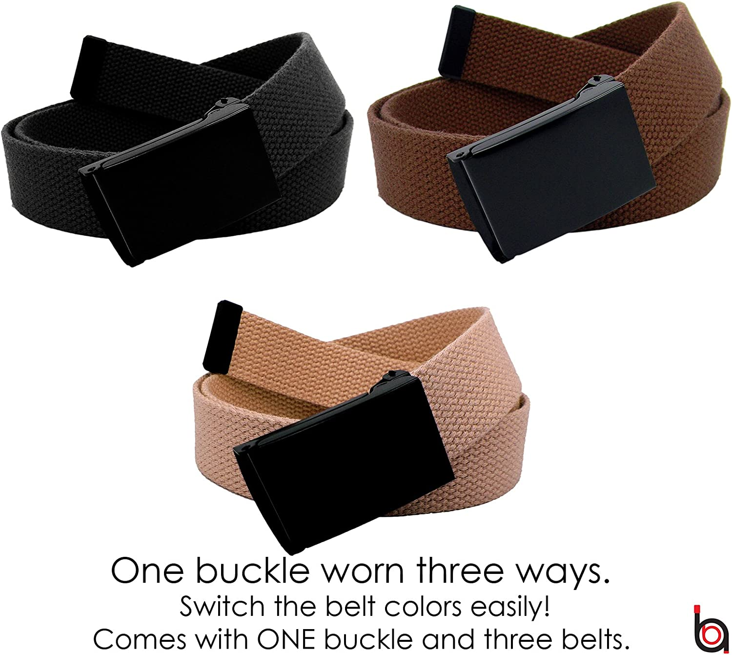 Mens 3 In 1 Belt Pack Black Flip Top Buckle with Web Belt Nickle Free