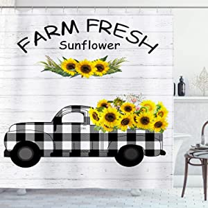 AMBZEK Farmhouse Shower Curtain Rustic Farm Sunflower Truck Country Retro Wild Flower Floral Spring Blooming Nature Artwork Cloth Fabric Bathroom Decor Set with 12 Pack Hooks 60x71 inch, Black Yellow
