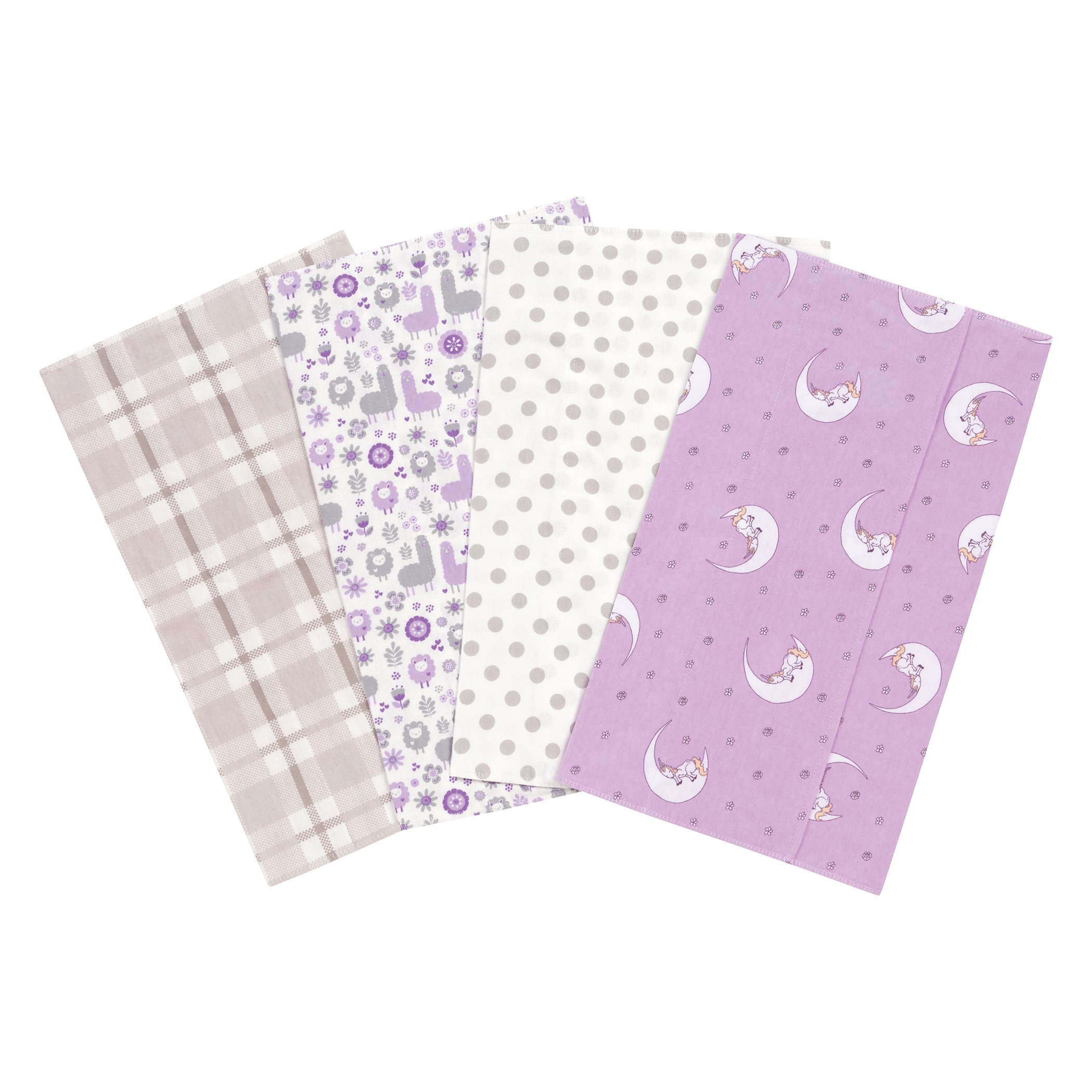 Trend Lab Llamas and Unicorns Flannel Burp Cloth Set, 4 Piece