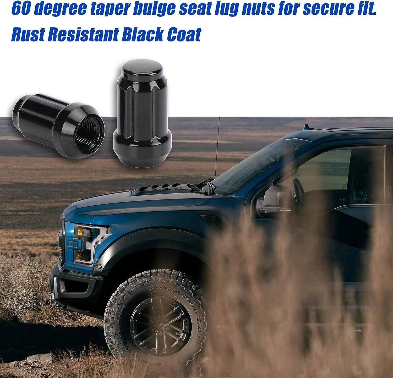 20PCS+1Keys 12x1.25 Black Wheel Lug Nuts,m12x1.25 Closed End Spline Acorn Style Wheel Lug Nuts Conical Seat 1.38 Tall Compatible 3//4 Hex