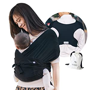 Konny Baby Carrier | Ultra-Lightweight, Hassle-Free Baby Wrap Sling | Newborns, Infants to 44 lbs Toddlers | Soft and Breathable Fabric | Sensible Sleep Solution (Black, 2XL)