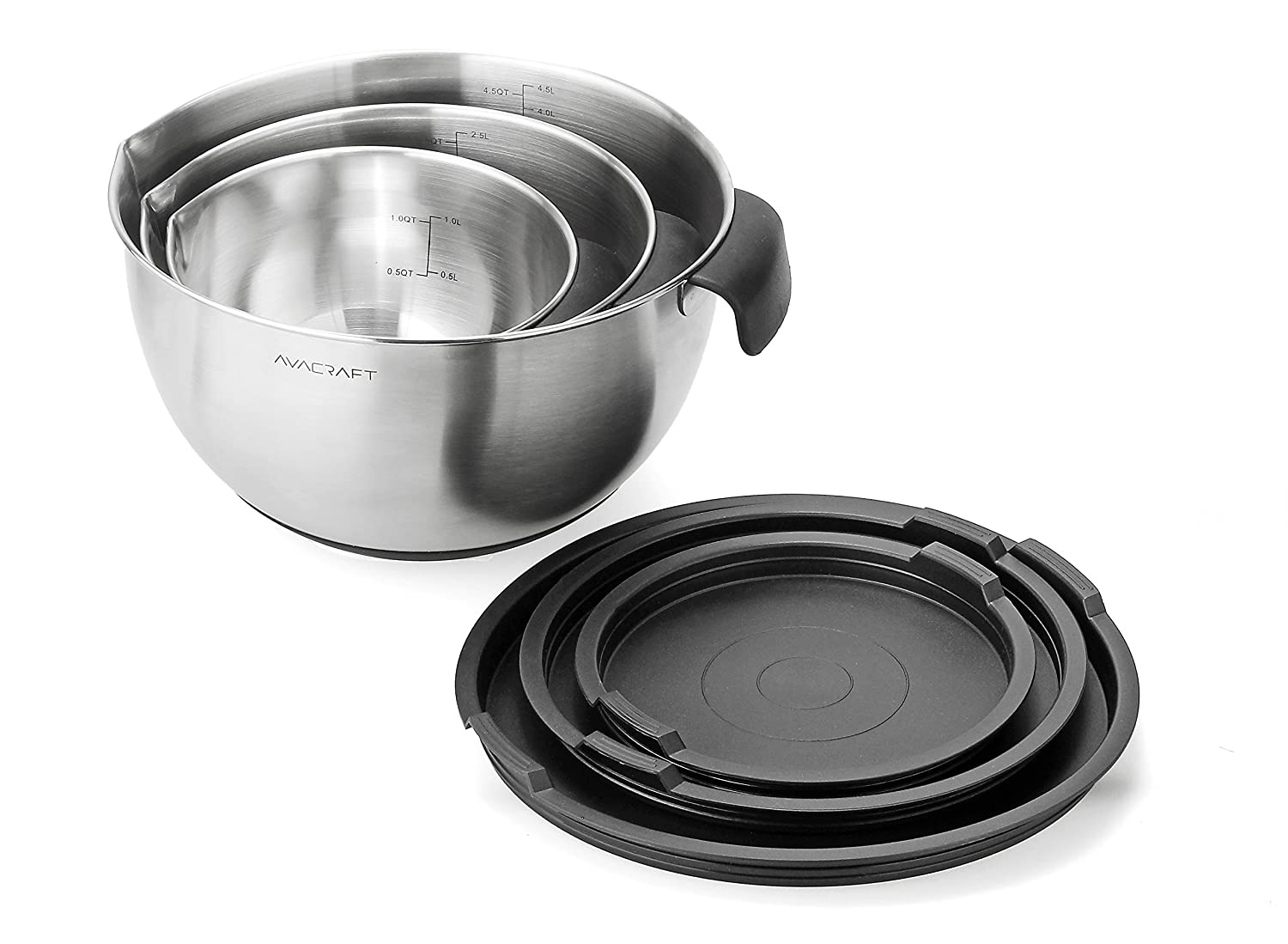 Steel Mixing Bowl set with Lids, Non-Slip Silicone Bottom, Handle, Pour Spouts and Measurement Marks,