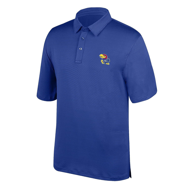 Royal Large J America NCAA Mens Kansas Jayhawks Yarn Dye Striped Team Polo Shirt