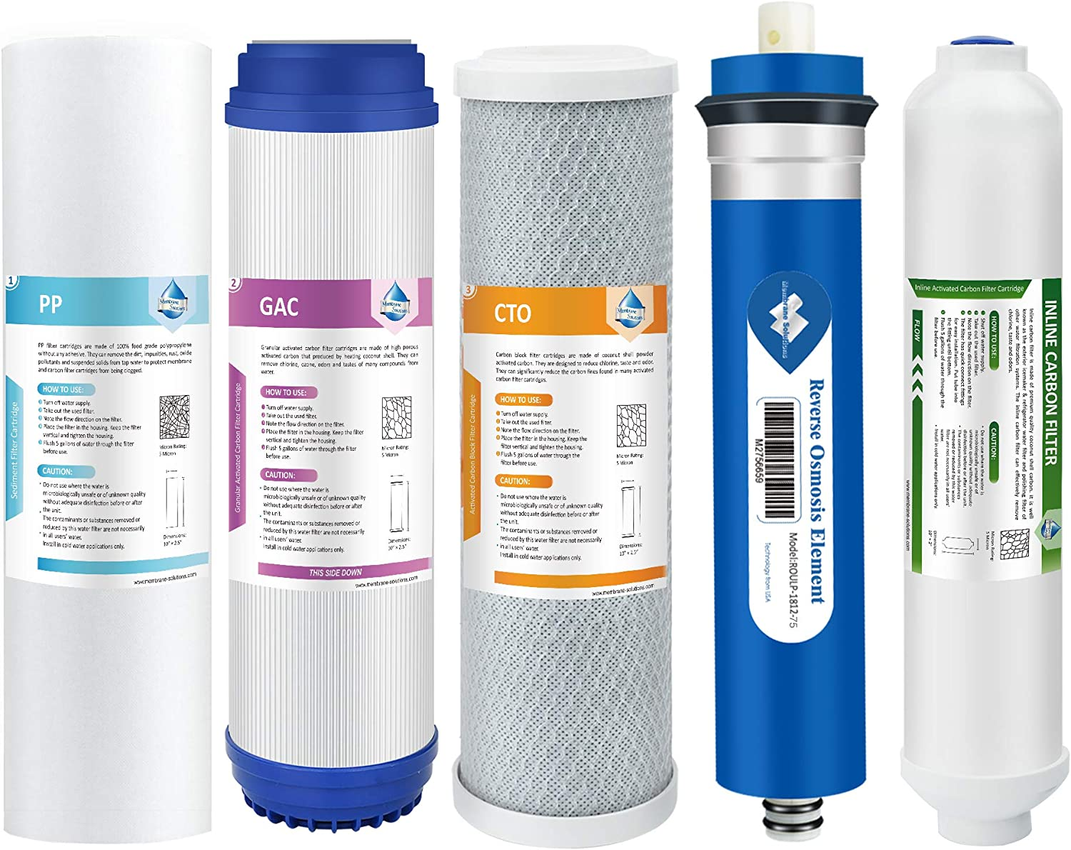 Membrane Solutions Reverse Osmosis Filter Replacement, 75 GPD Complete Replacement Filter Set for Under Sink 5-Stage Reverse Osmosis Replacement Water Filter System