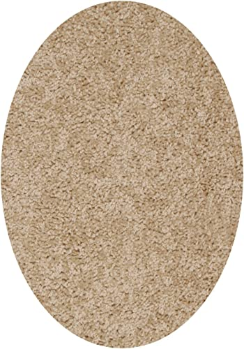 Bright House Solid Color Area Rug, Oval, 8 L x 10 W, Beige