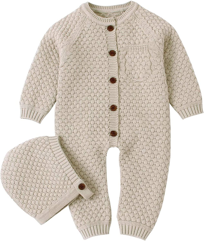 Newborn Baby Boy Girl Cotton Romper Jumpsuit Bodysuit Beanie Hat Outfits Clothes