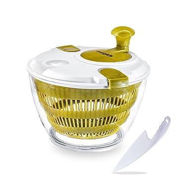 Manual de chef Grids grande centrifugador de secador de lechuga para ensalada Tosser, rápido Veggie mezclador Grande verduras secador Easy Spin - Base ...