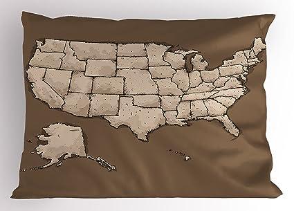 Amazon Com Lunarable Usa Map Pillow Sham Sketchy Style Rough
