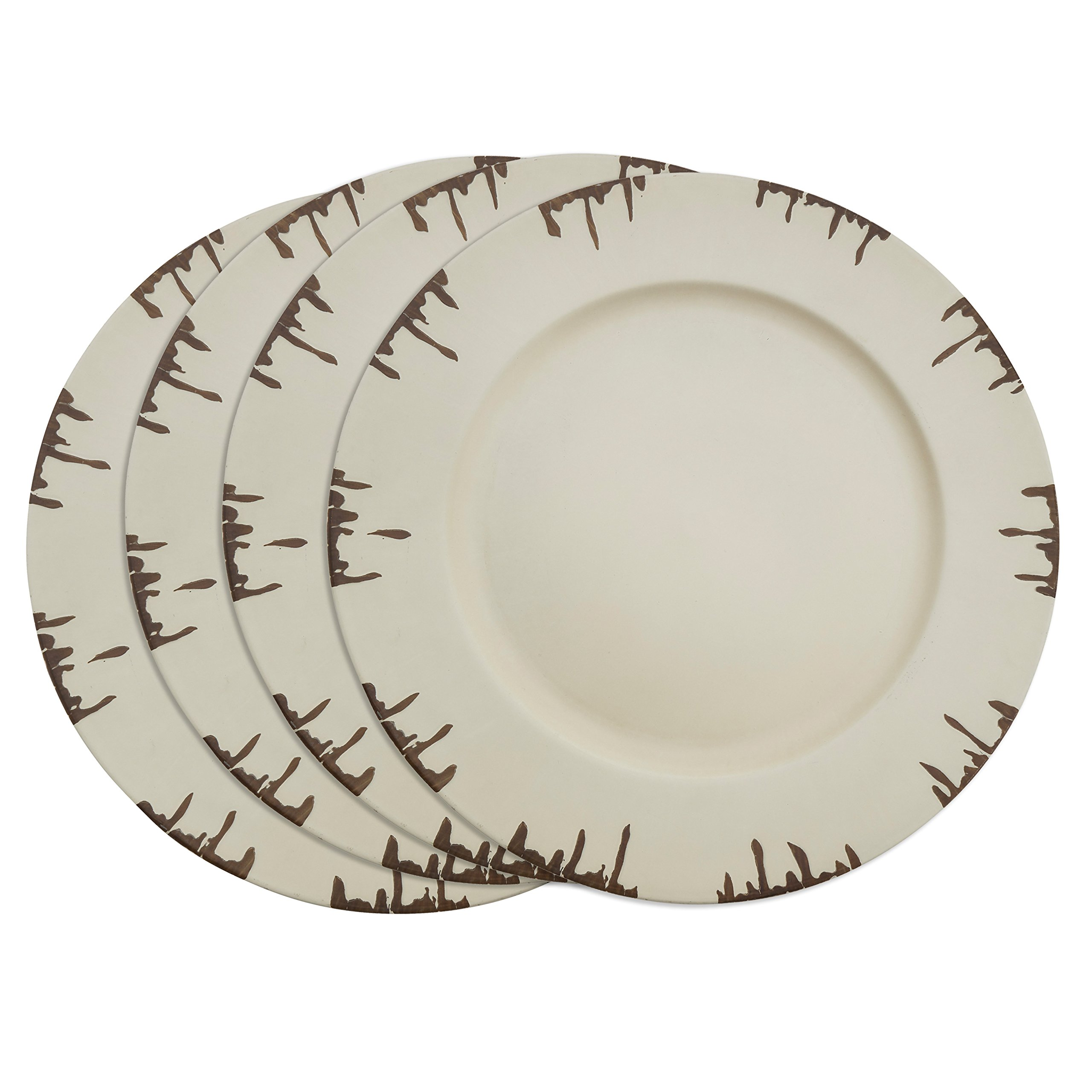 SARO LIFESTYLE Sousplat Collection Distressed Design Detail Charger Plate, 13'', Ivory