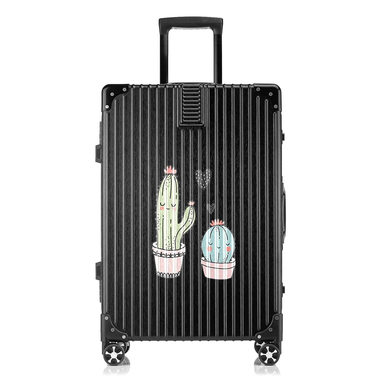 GSHCJ スーツケース 植物 サボテン キャリーケース 20インチ おしゃれ ブラック Tsaロック搭載 プリント ハード 超軽量 軽い 機内持込 ロックファスナー 旅行 ビジネス 出張 海外 修学旅行 丈夫 便利 レディース メンズ 学生 B07S19S8SF