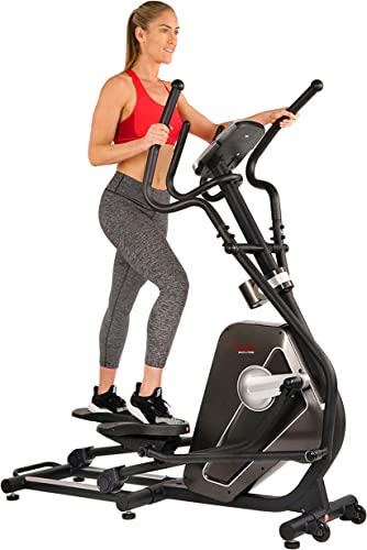 Sunny Health Fitness Magnetic Elliptical Trainer Machine w Tablet Holder, LCD Monitor, 265 LB Max Weight and Pulse Monitoring – Circuit Zone, Black SF-E3862