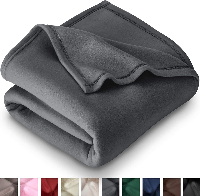 Bare Home Polar Fleece Blanket - Full/Queen - Warm Cozy - Hypoallergenic Premium Poly-Fiber Yarns - Thermal - Lightweight Bed Blanket (Full/Queen, Grey)