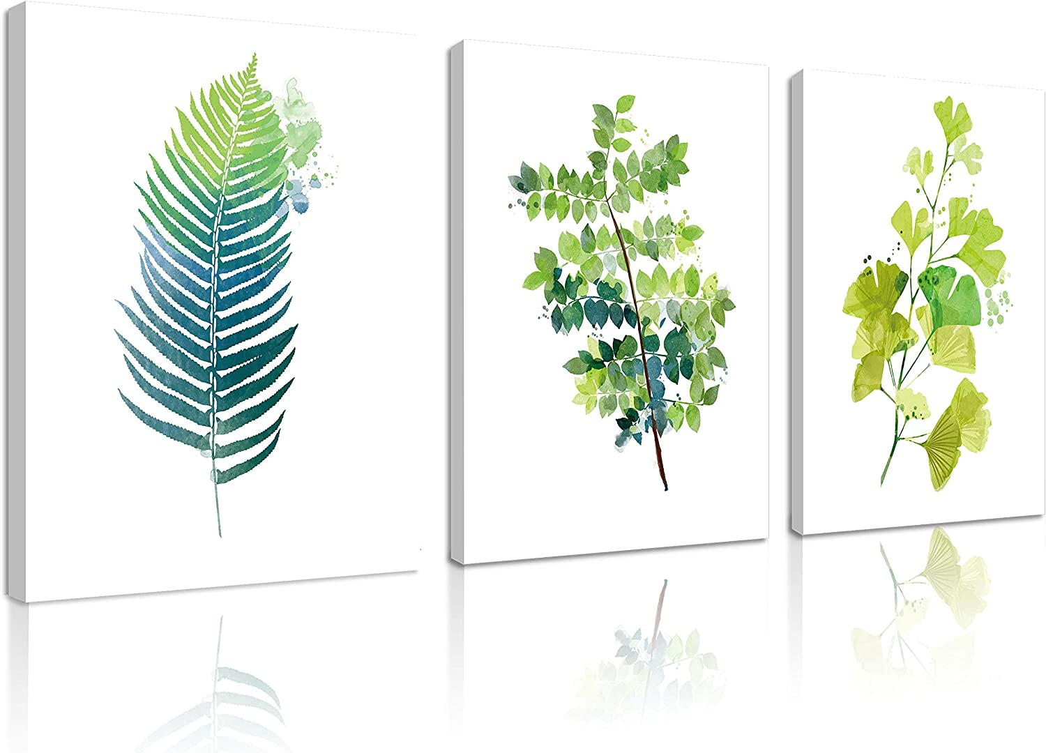 Natural art 3 Panels Wall Art Contemporary Simple Green Leaf Painting Wall Art Decor Framed Canvas Prints Small Tropical Plants Watercolor Giclee Ready to Hang Home Office Decor Gift 12x16inches