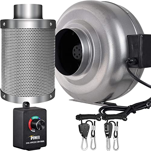 iPower 6 Inch 442 CFM Inline Fan Carbon Filter Combo with Variable Speed Controller 8 Feet Rope Hanger for Grow Tent Ventilation