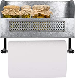 Autumn Alley Rustic Farmhouse Wall Mounted Galvanized Paper Towel Holder with Shelf | Artisan Crafted |Simple Installation | Kitchen Organizer