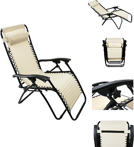 MagshionSingle Lounge Chair Recliner Reclining Patio Pool Beach outdoor Folding Chair Khaki