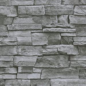 Timeet Textured Stone Peel and Stick Wallpaper 3D Stone Wallpaper Self Adhesive Removable Brick Wallpaper for Kitchen Living Room Fireplace Home Decor Waterproof Vinyl Roll 17.7