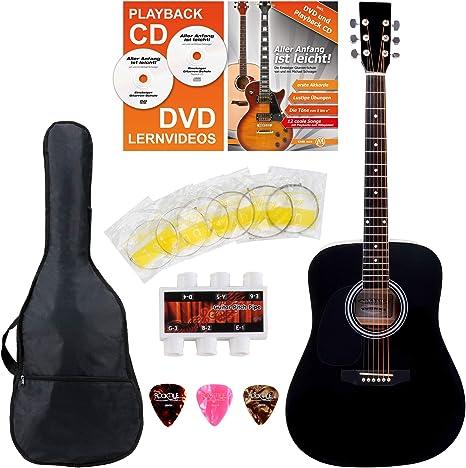 Classic Cantabile guitarra acústica para zurdos kit principiantes ...