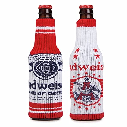 budweiser holiday sweater bottle cooler red and white pack of 2