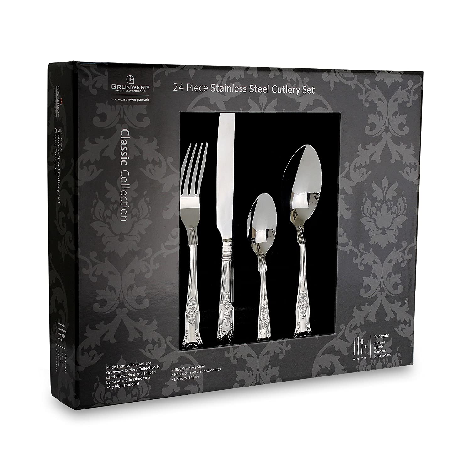Grunwerg Classic Kings Pattern 24 Piece Cutlery Set, 18/0 Stainless Steel, Mirror Finish - Gift Boxed 24BXKGR