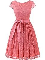 IVNIS Women's Vintage Lace V Back Bridesmaid Party Dress Short Prom Dress Cap Sleeve