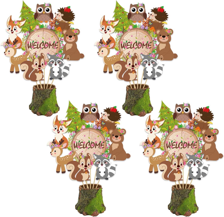 Konsait 36Pack Jungle Animals Centerpiece Sticks- Animals Cutouts Table Toppers -Safari Baby Shower Decorations Accessories-Woodland Creatures Centerpieces-Zoo Jungle Safari Party Favor Supplies