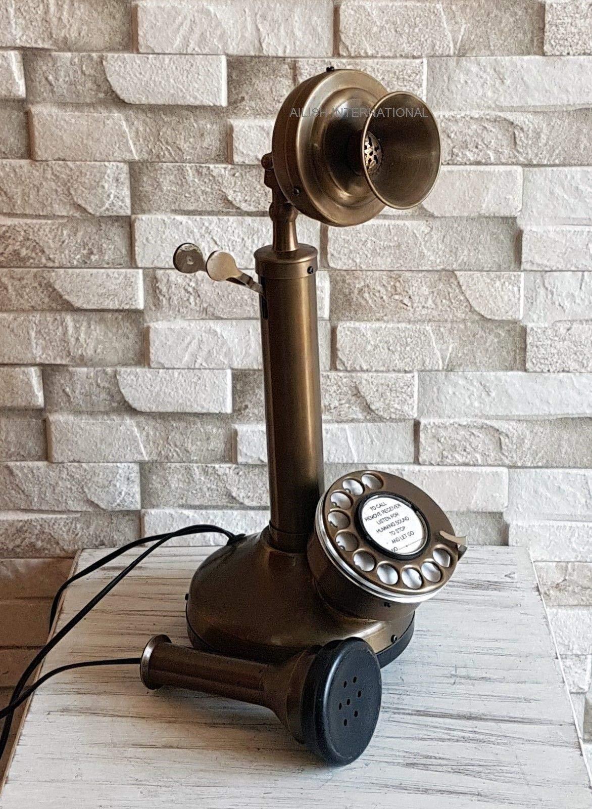 AILISH INTERNATIONAL Vintage Look Full Solid Brass Candlestick Telephone by AILISH INTERNATIONAL