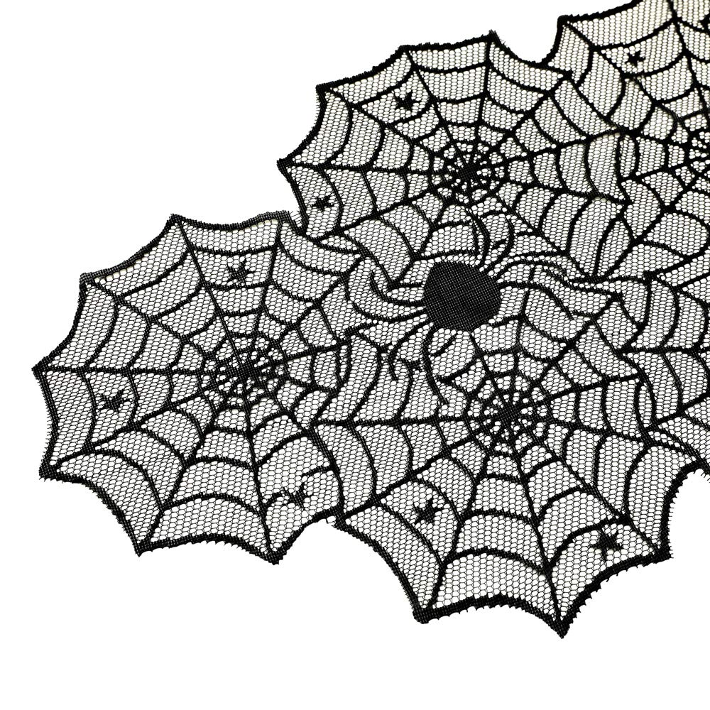PRODECOR 54x72 Halloween Tablecloth Perfect for Dinner Parties and Scary Movie Nights JINHUI Black Spider Web Rectangular Polyester Lace Table Cover